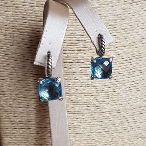 David Yurman Chatelaine Blue Topaz Diamond Drop Ea